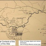 Harita pazırık konar-göçerlerinin kültürel sınırlarını göstermektedir.