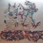 Fantastik bir kuşun tasvir edildiği keçeden yapılmış bir halı ya da duvar örtüsü / Pazırık Kurganı-5 MÖ. 252-238